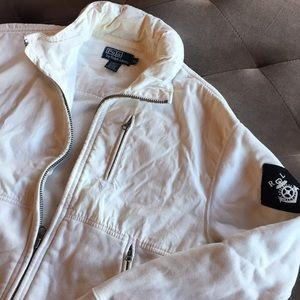 Polo White Zip-up sweater